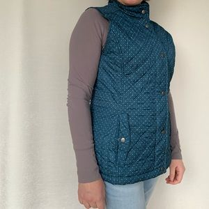 Teal polka dot  Quilted Vest - like new